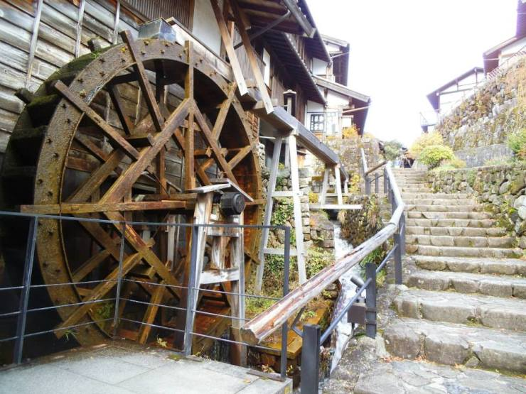 A giant water wheel at Magome.