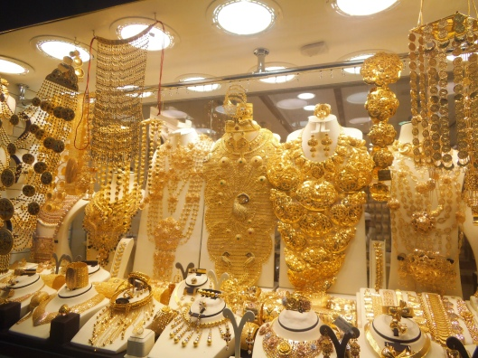 Outrageous jewelry designs on display at the gold souk.