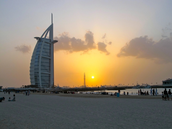 The Burj Al Arab on Jumeirah open beach. Photo by Irene Almario