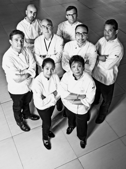 Madrid Fusión Manila's Philippine-based chefs are (back row:) Pepe Lopez and Jose Luiz Gonzalez, (middle row:) J. Gamboa, Juan Carlos de Terry, Fernando Aracama, and Claude Tayag, (front row:) Margarita Forés and Myrna Dizon-Segismundo. Photo by MJ SUAYAN Assisted by PHILLIPE ESCALAMBRE Produced by DAVID MILAN